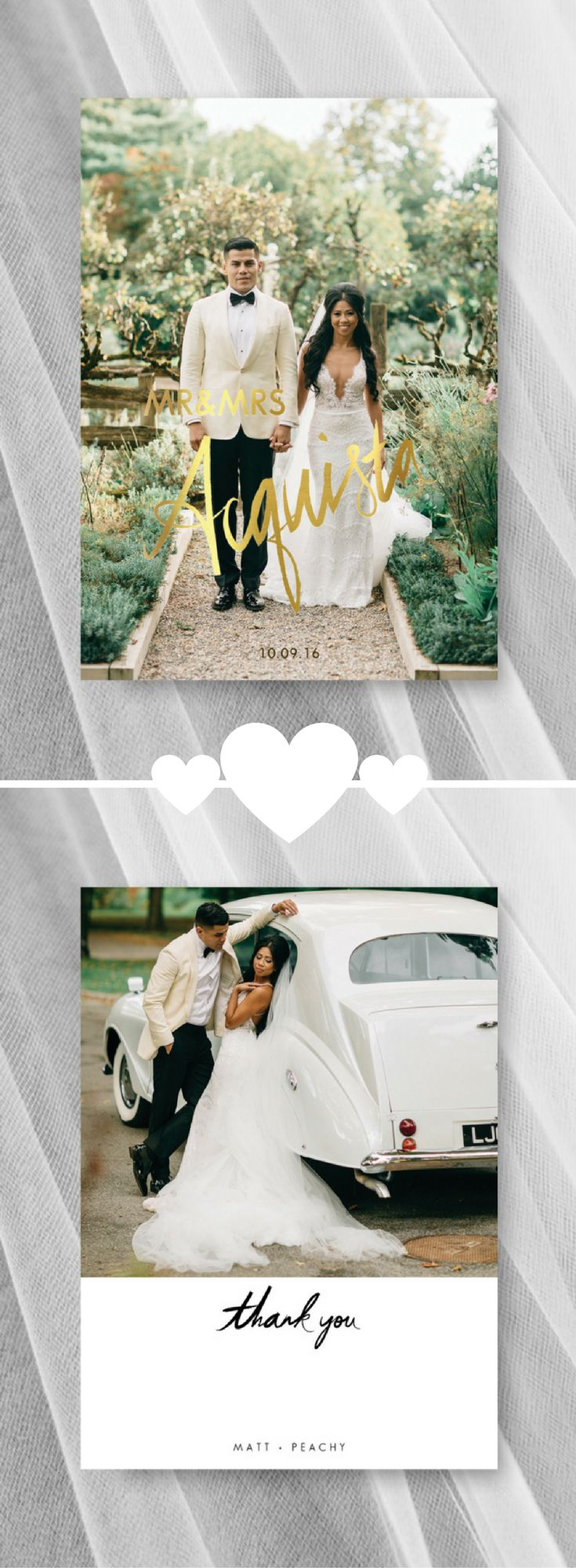 free online printable wedding thank you cards%0A Wedding Announcement Template Faux Gold Foil Photo Wedding Thank You Card