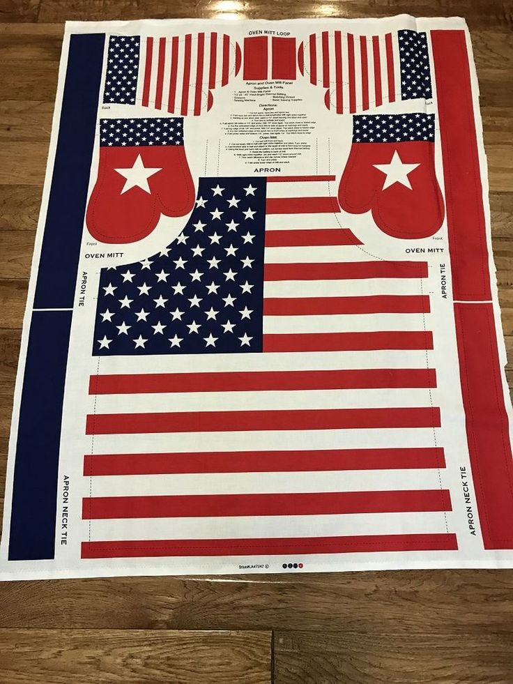 4th of July American Patriotic Flag Apron and Hot Pads Cotton Fabric Panel sew #Unbranded