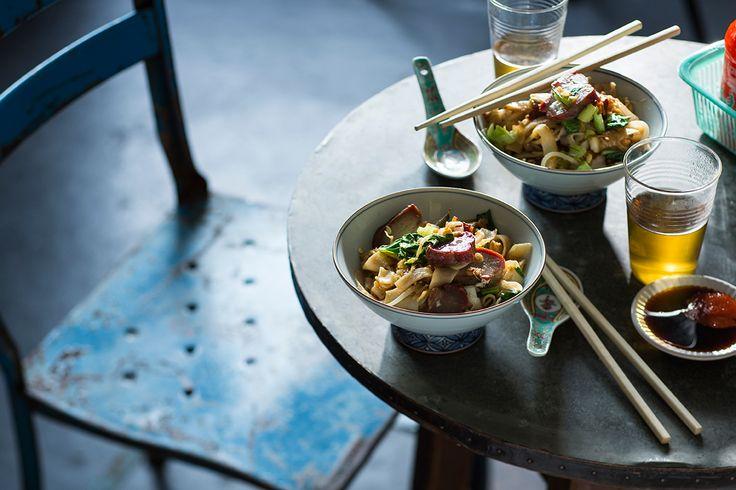 Wok-tossed rice noodles with char siu and egg (hu tieu xao xa xiu)