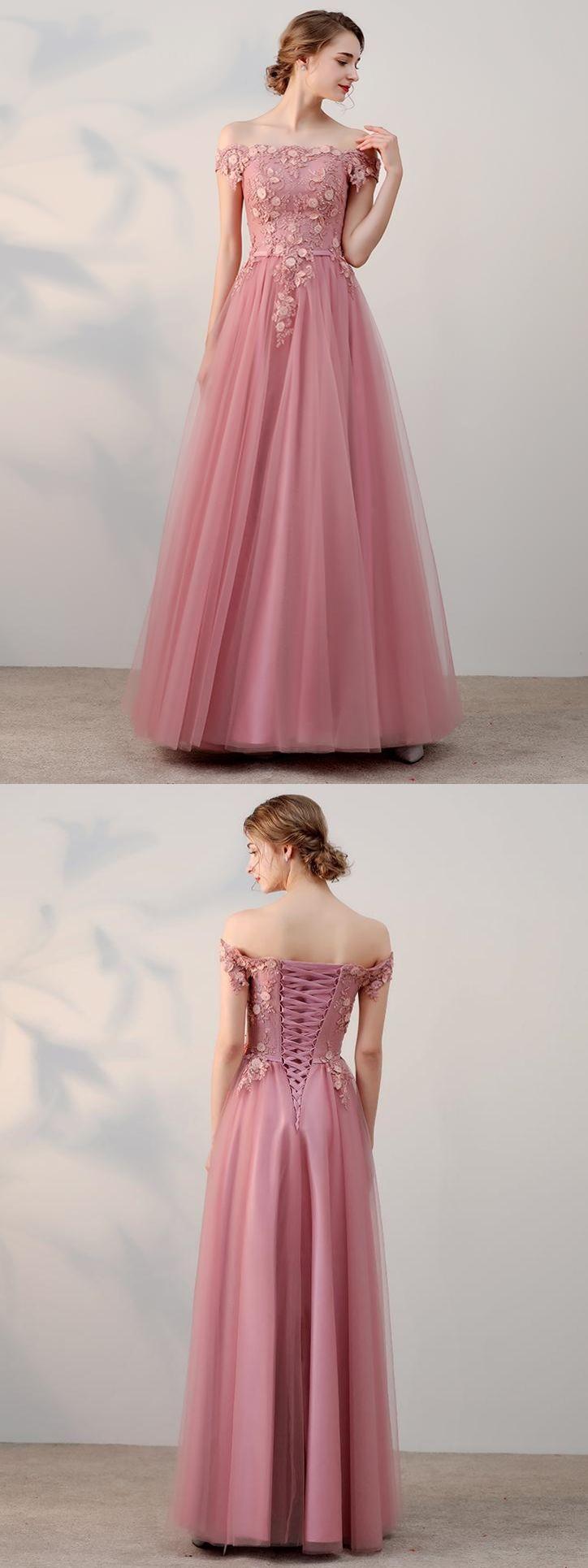 A-Linie Carmen-Ausschnitt bodenlang Kurz Tülle Abendkleider # AM230