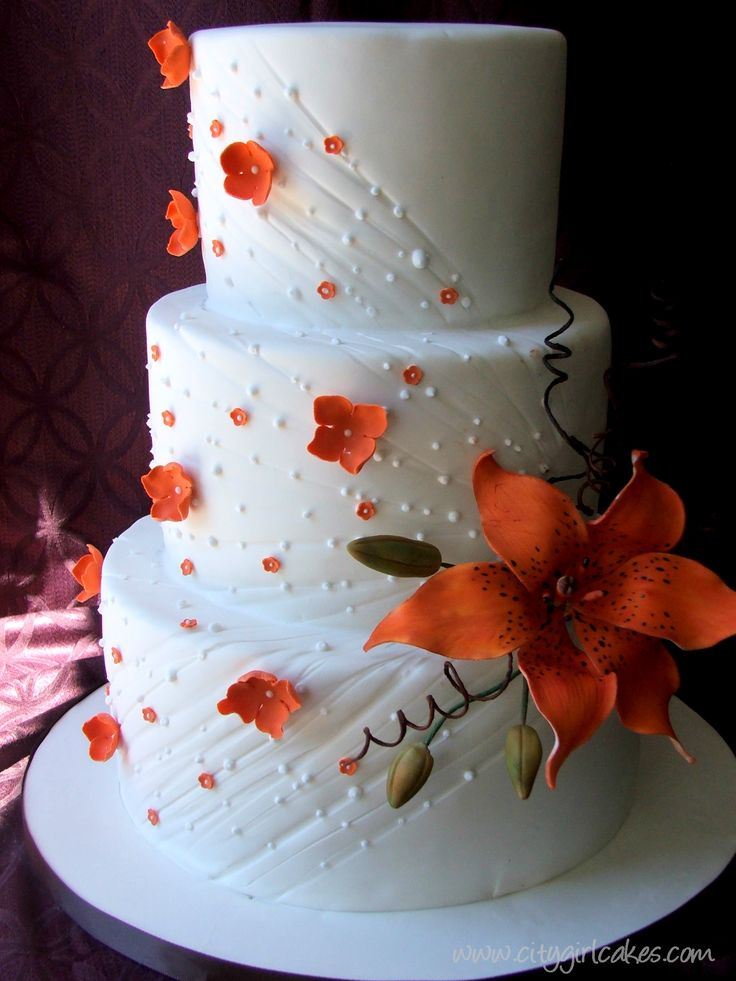beautiful tiger lily wedding cake, the pink and black tiger lilies we had in our front came to mind and would fit your colorsTigers Lilies Wedding, Orange Flower, Tiger Lilies, Design Cake, Cake Design, Hibiscus Flower, Wedding Cakes, Wedding Pin, Fall Wedding