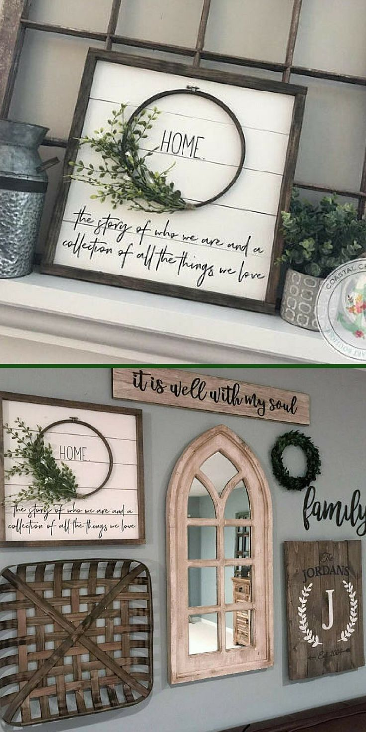 "Beautiful shiplap wreath ""HOME"" sign. I would love this for my gallery wall. Shiplap Sign, Shiplap Wreath sign, Framed Shiplap Sign, Fixer Upper Sign, Farmhouse Sign, Farmhouse Decor, Fixer Upper Decor, Home Sign #ad"