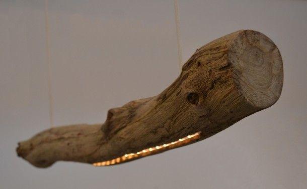 Wasruimte | hanglamp LedWood natuurlijke boomstam lamp Door Noompje