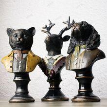 Vintage old gentleman dog ,cat , deer figurine, high-end simulation Resin Statue decoration crafts, Animal figure onsale~