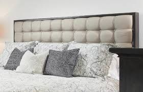 dark dresser and night table white fabric headboard - Google Search