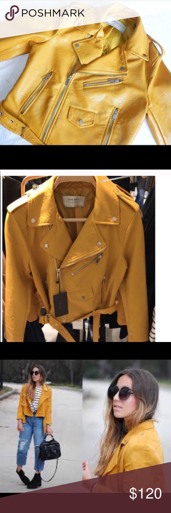 Leather jacket yellow zara - Zara Leather Jacket Yellow Mustard Nwt Zara Leather Jacket Nwt Zara Jackets Coats