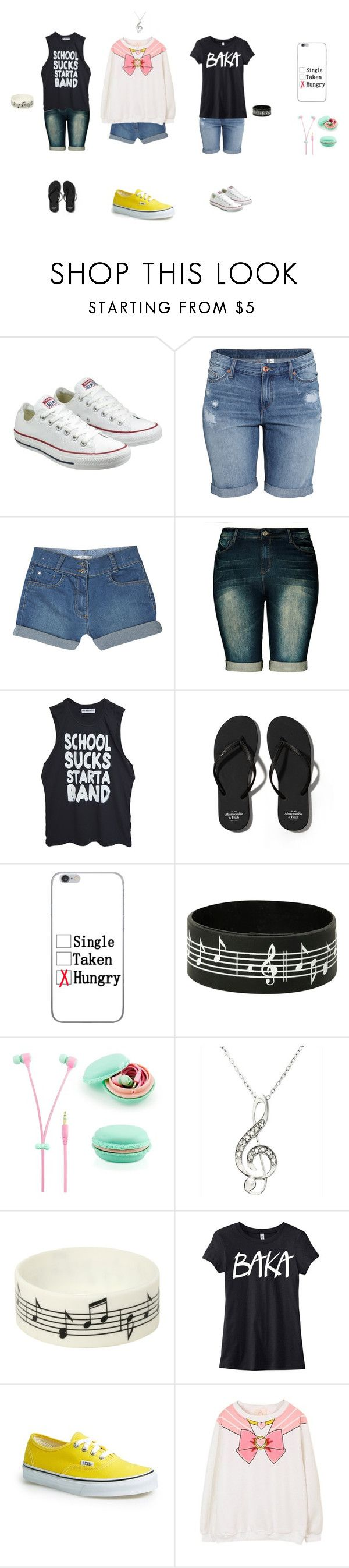 """CheesyCake"" by nerdyredd ❤ liked on Polyvore featuring Converse, H&M, M&S, City Chic, High Heels Suicide, Abercrombie & Fitch, Hot Topic, Samsung, Music Notes and Vans"