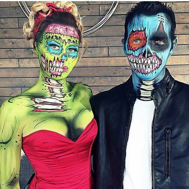 Pop Art Zombie Couple for Halloween 2017 - https://www.luxury.guugles.com/pop-art-zombie-couple-for-halloween-2017/