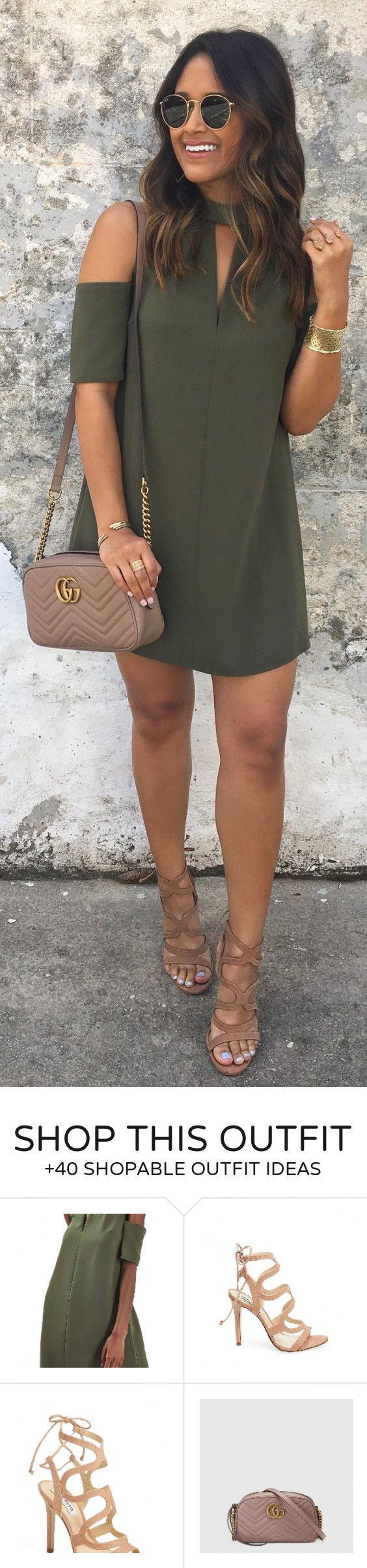 #spring #outfits / Green Open Shoulder Dress / Коричневая кожаная сумка / Коричневые сандалии