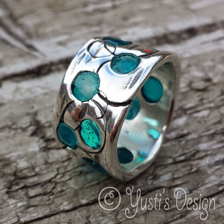 """craft liners: Ring """"sea glass"""""""