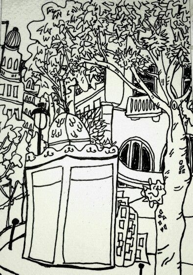 I drew this sitting on a bench in Place St Michel, pretending to wait for  bus... ink on paper by Katie Jurkiewicz.