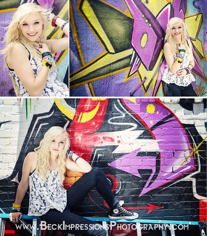 Nashville Urban Senior Pictures with graffiti wall.