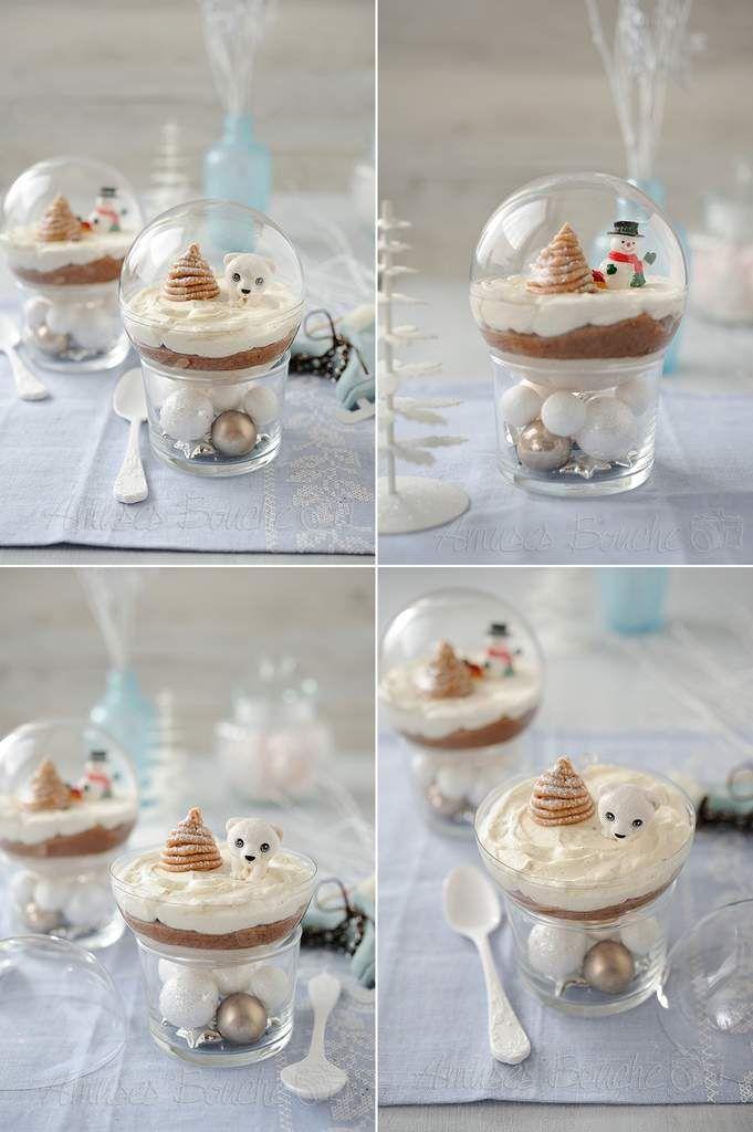 Gâteau Mont-Blanc version individuelle façon boule de Noël - Mousse de marron, crème de marron, meringue et chantilly