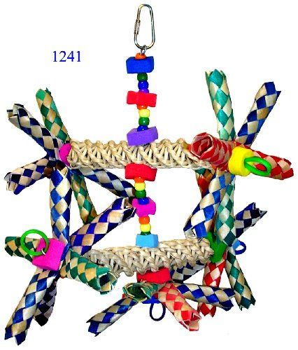 1241 Double Helix a plethora of foraging and finding fun it will surely keep your small to medium-sized feathered companion fully entertained. Two natural vine ladders are totally engrossed with colo...