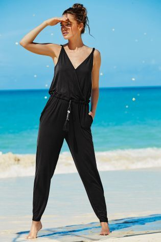 Buy Black V-Neck Jersey Jumpsuit from the Next UK online shop