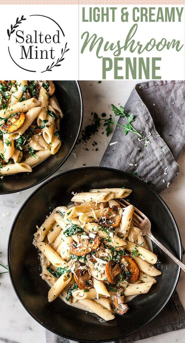 Lighter Healthier Creamy Mushroom Pasta Recipe Recipe Creamy Mushroom Pasta Mushroom Recipes Pasta Stuffed Mushrooms