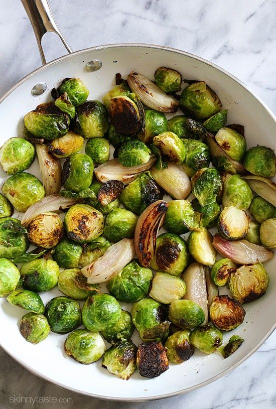 I will try brussel sprouts one of these days!! Roasted Brussels Sprouts and Shallots with Balsamic Glaze | Skinnytaste