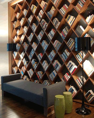 This is undoubtedly one of the most unique and functional bookshelf ideas you can replicate easily.