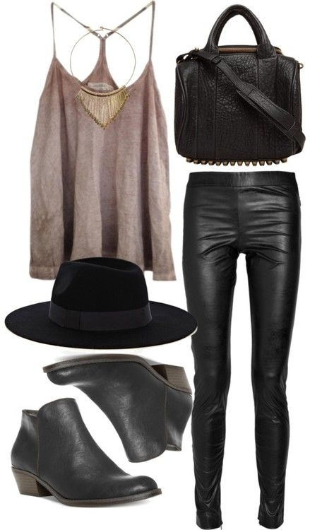 this outfit (only with a big ol' sweater and probably a coat right now because it's freezing outside) leather leggings, ankle booties, wool hat
