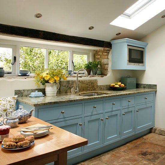 Be Inspired By This Blue Country Kitchen