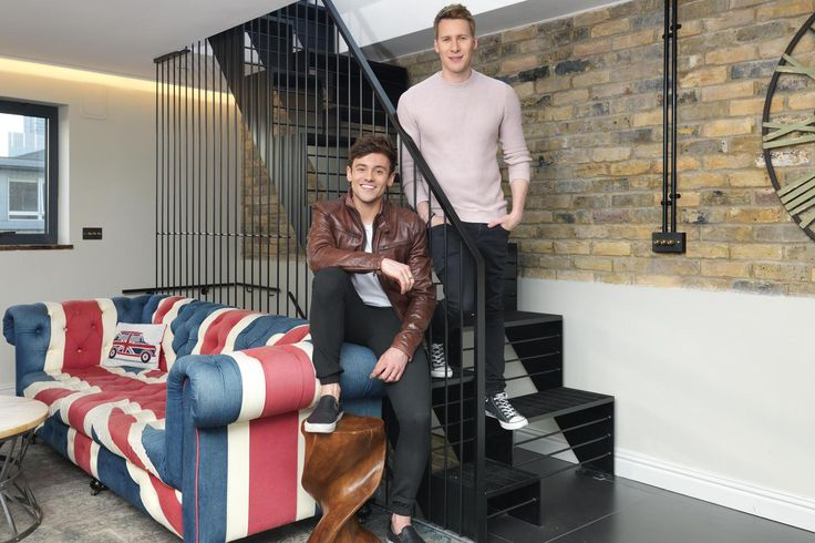 When Olympic diver Tom Daley began househunting in January last year with his then-boyfriend, American screenwriter/producer Dustin Lance Black, their aim was to find a London home with a welcoming atmosphere and bags of character. The couple, who married this month, eventually found exactly what they were looking for in a spacious, light-filled industrial conversion in Southwark. It has exposed bricks in tawny, toasted tones, uneven raw finishes and rough-hewn wooden beams.