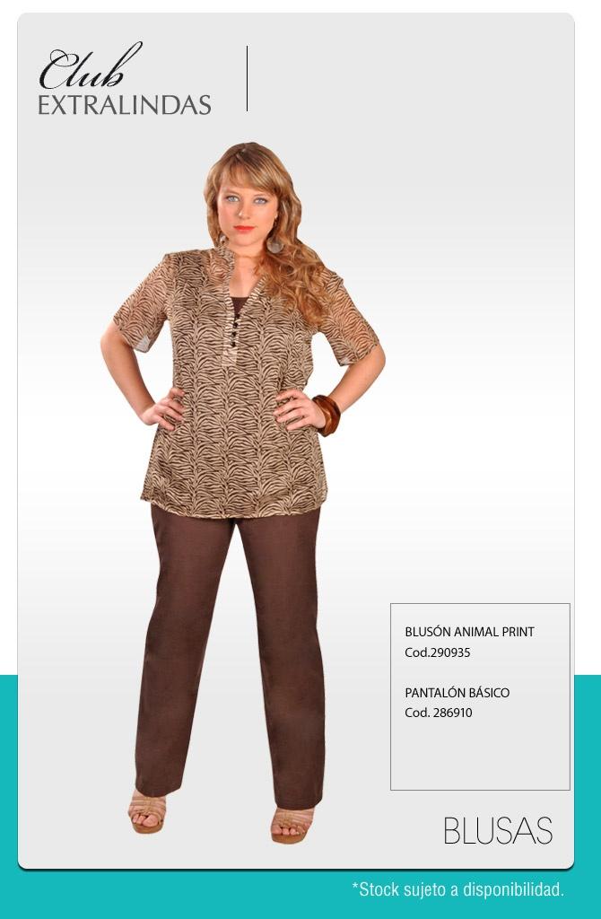 Blusón animal Print $ 14.990 / Pantalón básico $ 14.990