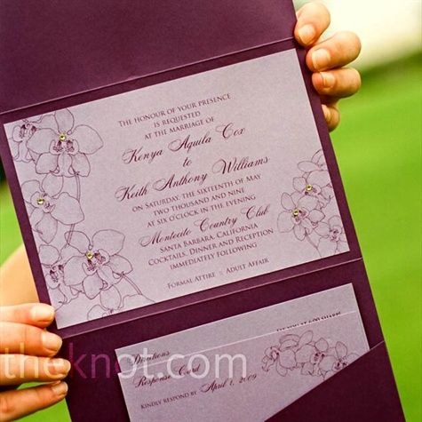 The goal was to incorporate purple and green into everything -- starting with the invitations, which had an orchid pattern and lime-green crystal accents