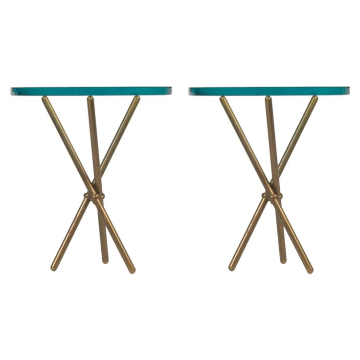 "Pair of Italian Bronze Baton Tripod Occasional Tables  Italy  1950's  A pair of occasional table in bronze with 3/4"" thick glass tops. Italian, circa 1950."