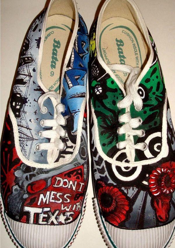 Custom Painted Bata Shoes by Abha Sikka from Baroda, India #batashoes #batatennis