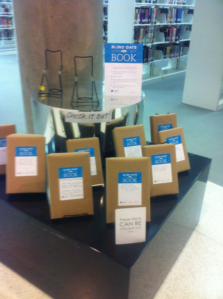 Blind date with a book!  So you can't judge a book by its cover. Great idea! Love my library!!!