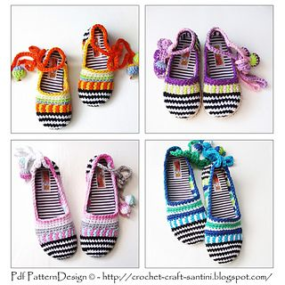 Happy Scrap-Shoes for the Kids - The Basic Slipper-Crochet Pattern - 4 sizes, Infant to 10 years  Treat your girls with these happy summer slippers!  I think every little princess would love these shoes! So cute with the soft ball-ropes to tie around the legs.