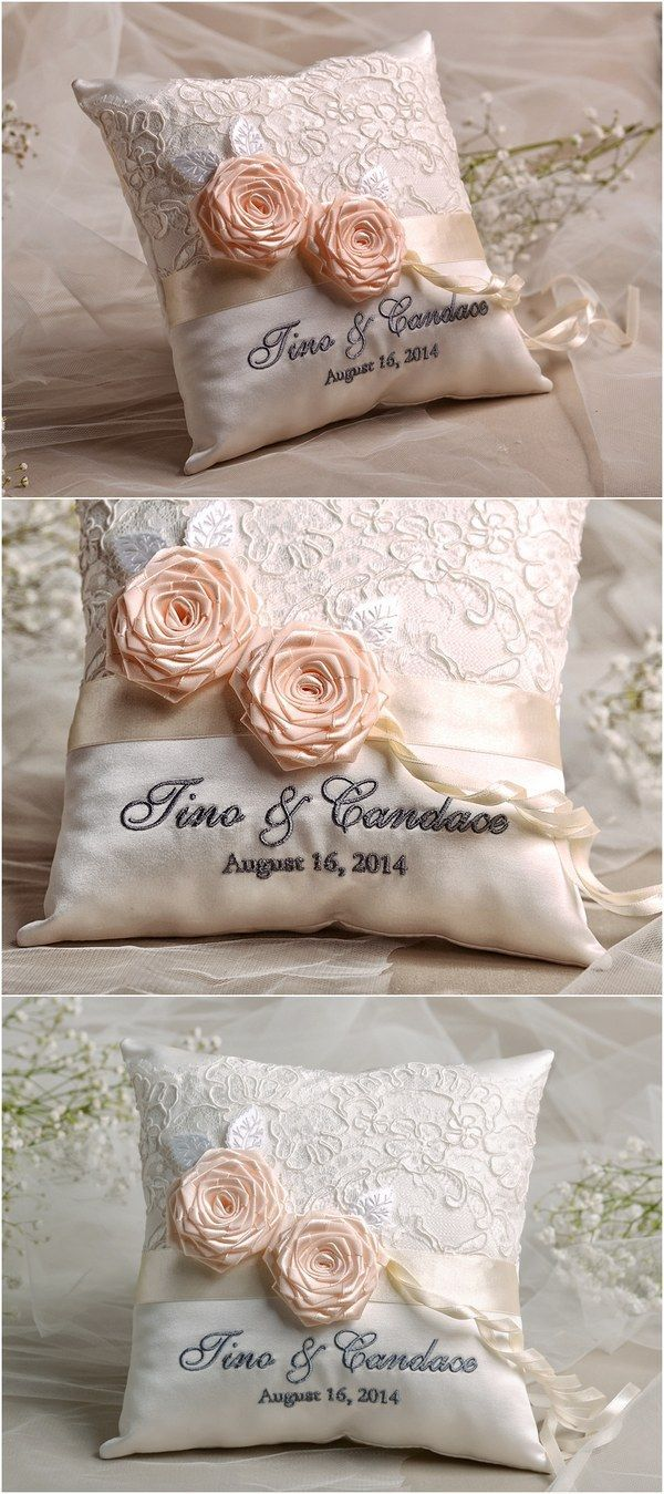 Vintage lace wedding ring bearer pillow @4LOVEPolkaDots