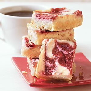 Fresh Cherry Cheesecake Bars Recipe!!!! So good looking and only 136 calories :) OR..Strawberry.