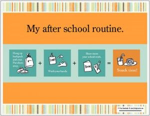 after school routine.  Simple to follow and makes after school predictable and relaxed.  Love that.