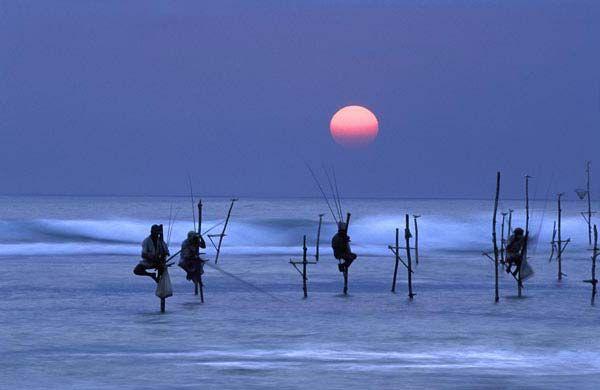 Credit: David Noton Stilt fisherman at dusk, Unawatuna, near Galle, Sri Lanka