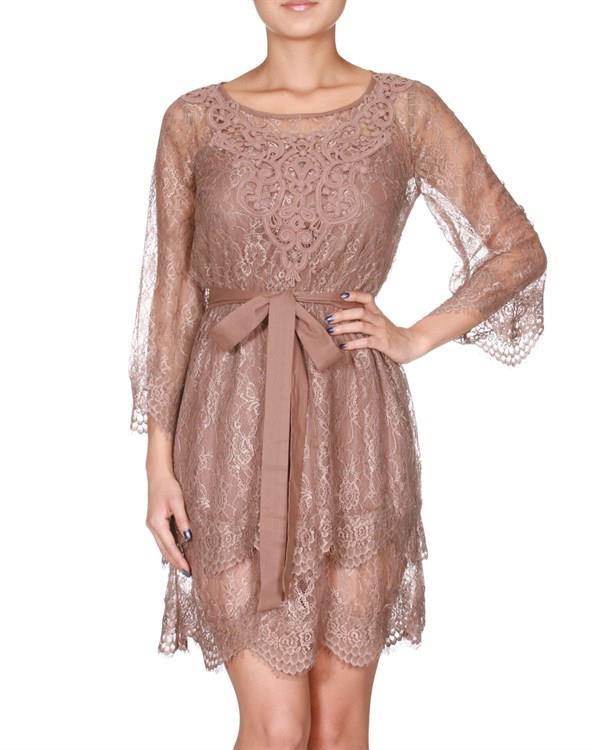 tan lace dress