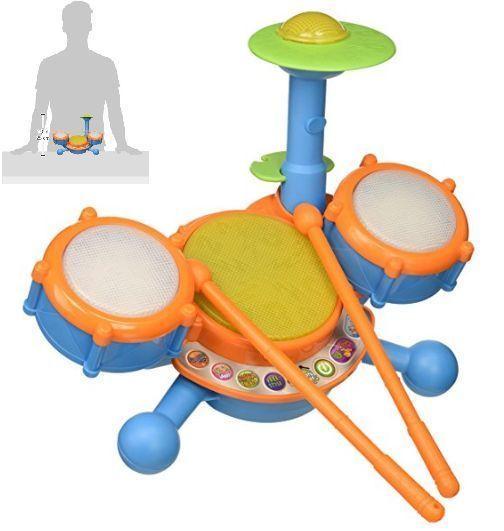Kids Drum Set Musical Instrument Orange Children Music Playset Band Play Toy #KidsDrumSet