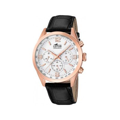 Montre Lotus, homme, mouvement à quartz, chronographe, boitier rond acier, cadran blanc, bracelet cuir, étanche 5 ATM
