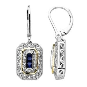 Sterling Silver and 14k Yellow Gold Blue Sapphire and Diamond Art Deco Style Drop Earrings