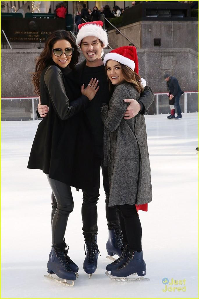Lucy Hale, Tyler Blackburn and Shay Mitchell attending ABC Family Winter Wonderland red carpet event.