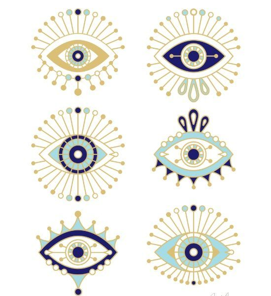 evil eye collection on white