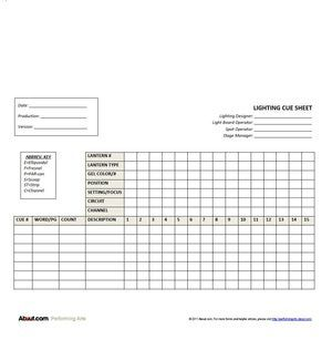 Expanded Lighting Cue Sheet Form: Lighting Cue Sheet Form