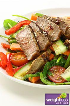 Healthy Beef Recipes: Thai Beef Salad. #HealthyRecipes #DietRecipes #WeightlossRecipes weightloss.com.au