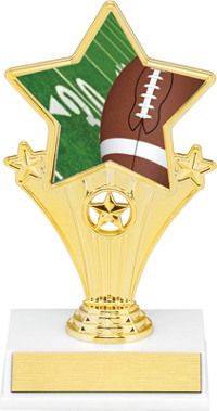 Football Super Star Trophy | Dinn Trophy New! Football super star trophy. Featuring 40 letters of free trophy personalization, this trophy is an unbeatable value ($0.10 per additional character)!