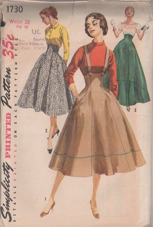 MOMSPatterns Vintage Sewing Patterns - Simplicity 1730 Vintage 50's Sewing Pattern AMAZING Rockabilly Pin Up Girl Built Up Waist, High Rise ...
