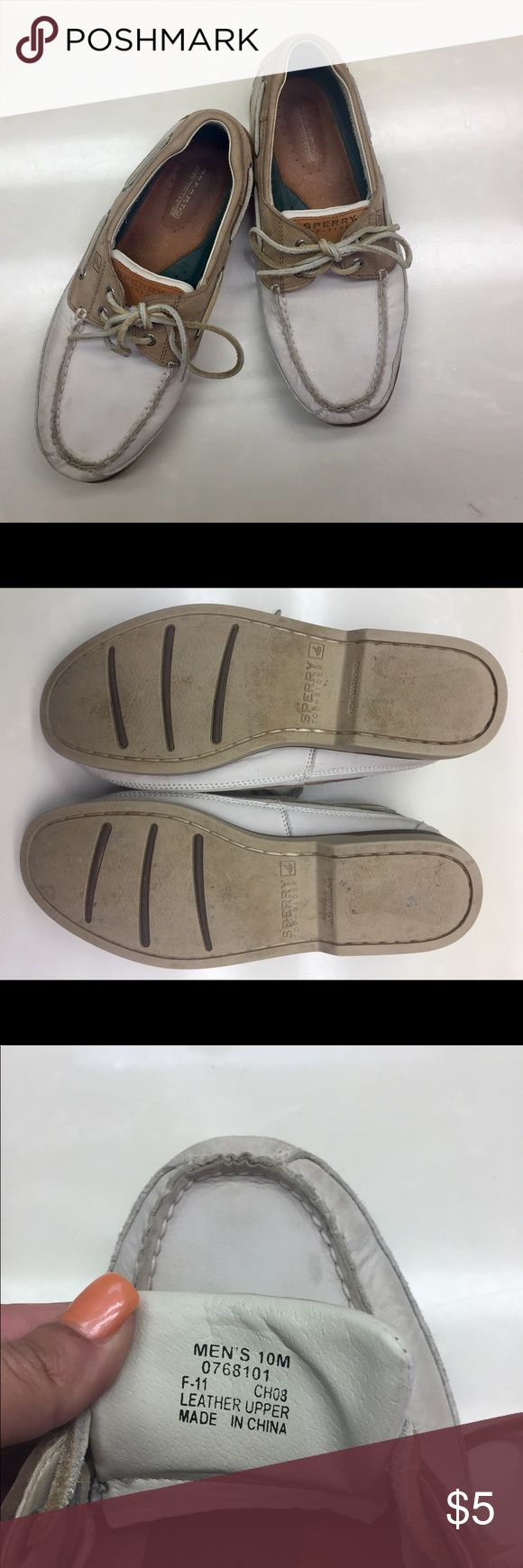 Men's Leather Sperry Topsiders. Size 10 Off white and tan. All leather. Maybe a little last season now. They are Sperry mako collection. Great condition. Maybe a few spots on the leather nothing that can't be removed. Price is fantastic for what you are getting. Sperry Top-Sider Shoes Boat Shoes