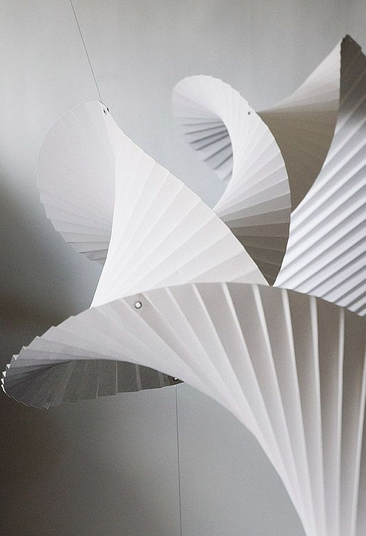 "pleated paper installation ""Column"" by Richard Sweeney"