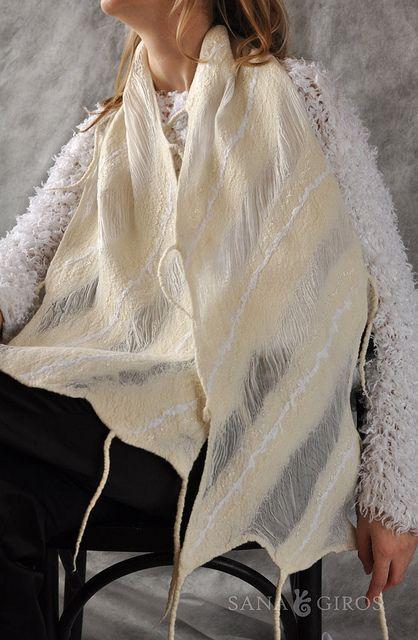 "Nuno felt scarf ""White dance"" by Sana Art, via Flickr"