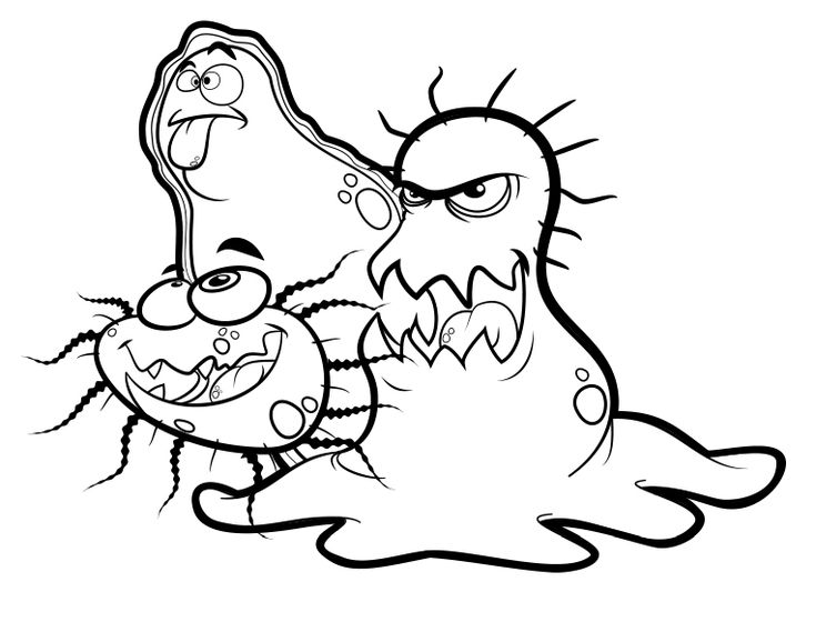free printable germ coloring pages | G is for germs! [coloring page] | No germs! | Pinterest