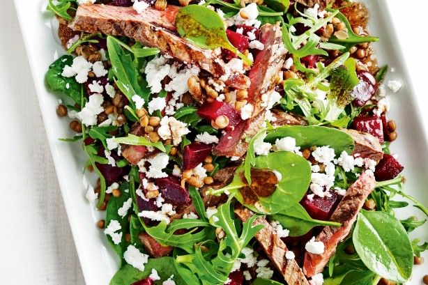 BBQ steak salad with lentils and beetroot